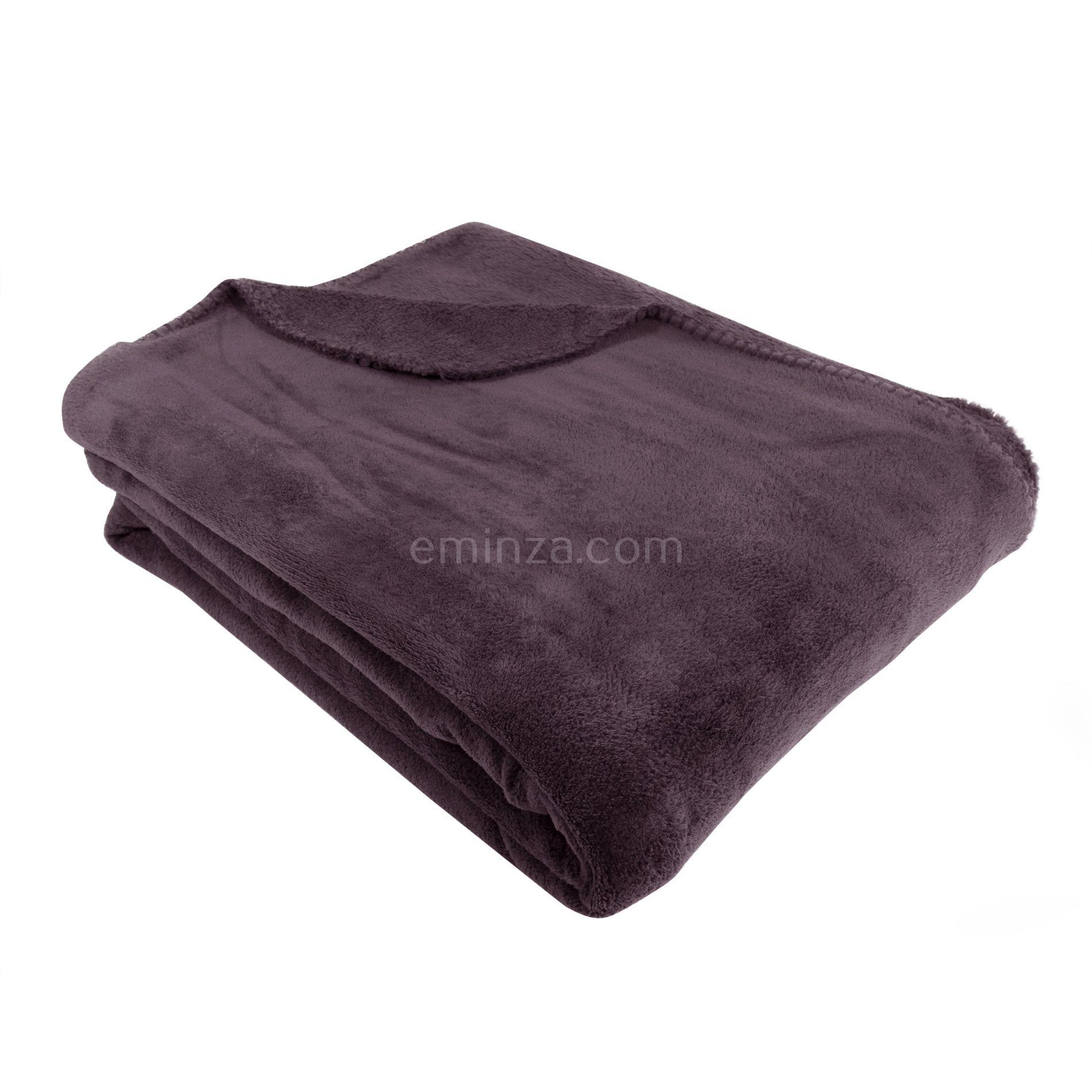 plaid polaire 230 cm tendresse aubergine plaid cocooning eminza. Black Bedroom Furniture Sets. Home Design Ideas