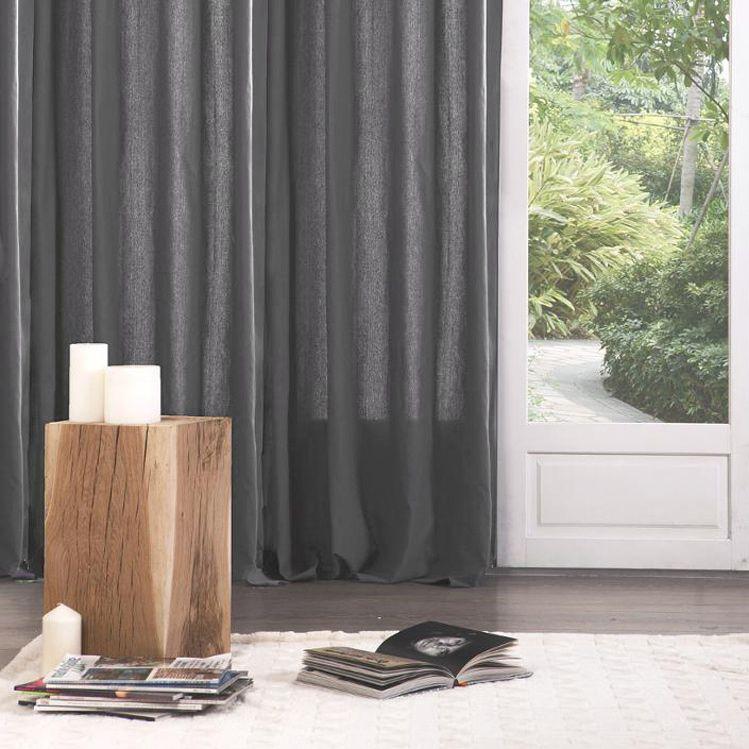 paire de rideaux tamisants 135 x h240 cm lina anthracite rideau tamisant eminza. Black Bedroom Furniture Sets. Home Design Ideas