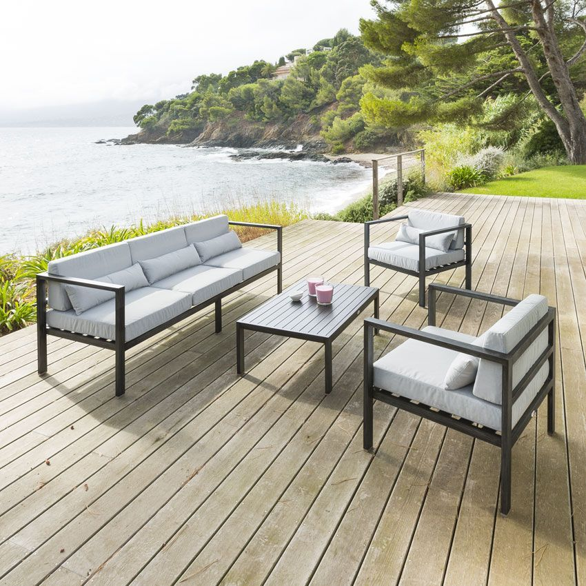 salon de jardin figari gris clair 5 places salon de jardin eminza. Black Bedroom Furniture Sets. Home Design Ideas