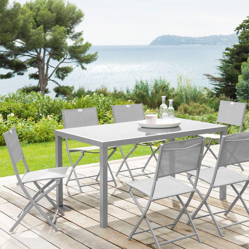 Salon de jardin piazza fixe gris silver mat 8 personnes for Decoration jardin gris