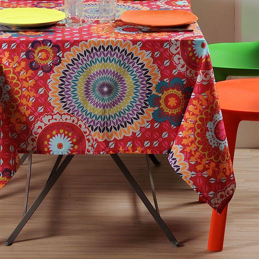 nappe carr e 155 cm imprim e colima rouge nappe de table eminza. Black Bedroom Furniture Sets. Home Design Ideas