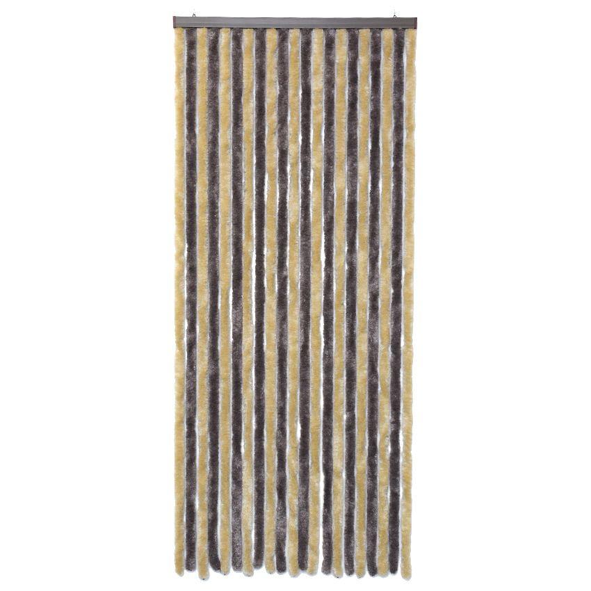 rideau de porte 120 x h220 cm chenille taupe et beige. Black Bedroom Furniture Sets. Home Design Ideas