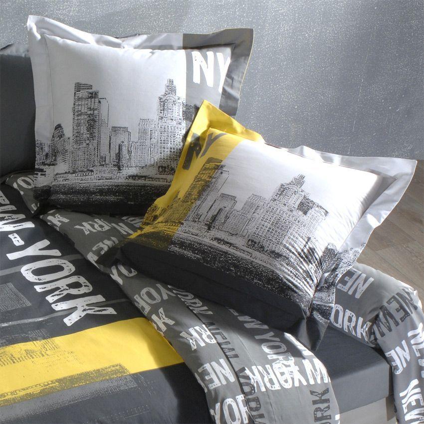housse de couette et deux taies 260 cm new york chic housse de couette eminza. Black Bedroom Furniture Sets. Home Design Ideas