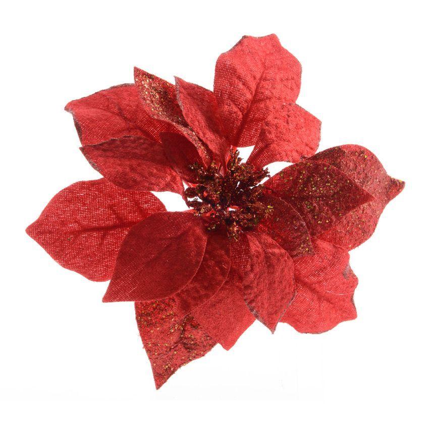 fleur de no l sur clip poinsettia velours rouge fleur et branche d 39 hiver eminza. Black Bedroom Furniture Sets. Home Design Ideas