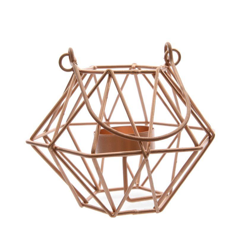 photophore h xagonal cuivre illumination pour la table eminza. Black Bedroom Furniture Sets. Home Design Ideas