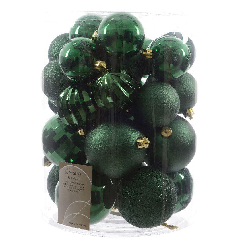 lot de 30 boules de no l unies mix vert boule de no l eminza. Black Bedroom Furniture Sets. Home Design Ideas