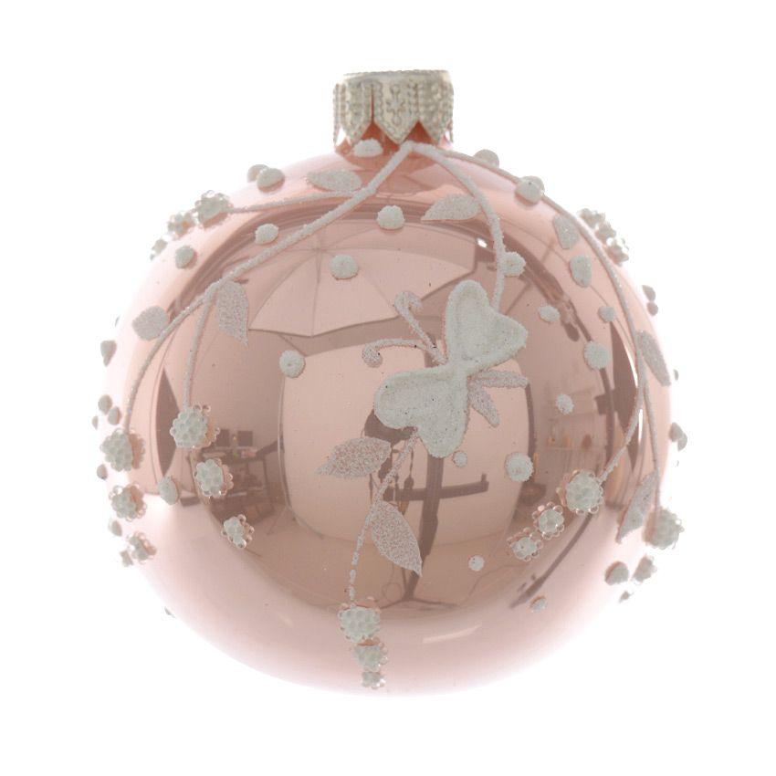 lot de 6 boules de no l d70 mm papillon rose poudr boule de no l eminza. Black Bedroom Furniture Sets. Home Design Ideas