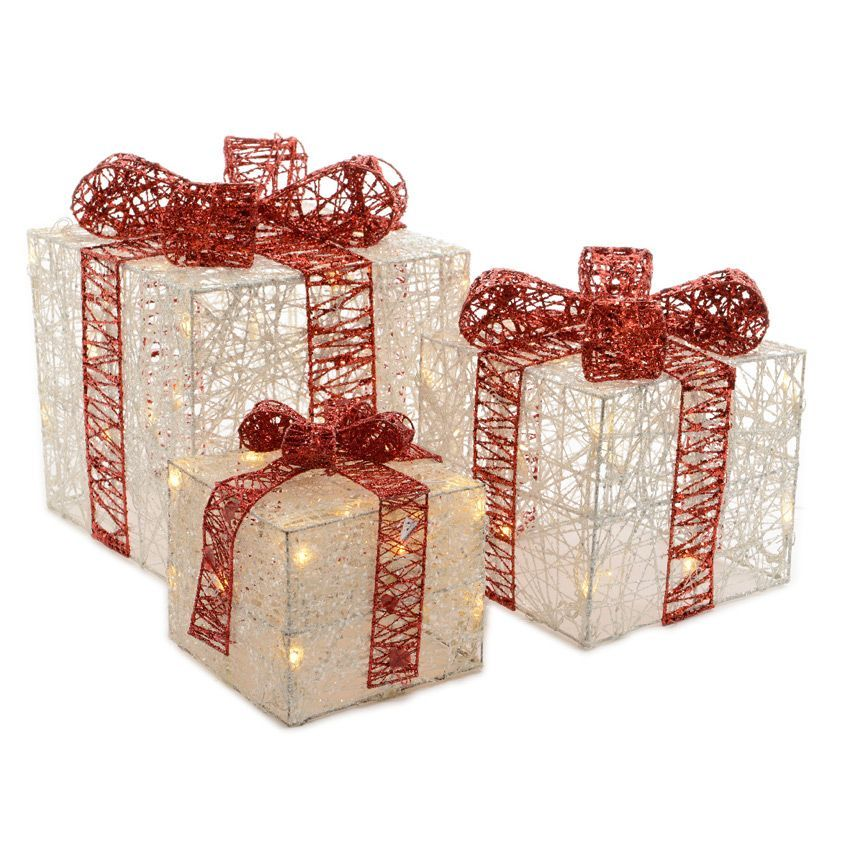 Lot de 3 cadeaux lumineux blanc chaud 60 led silhouette for Silhouette de noel lumineuse exterieur
