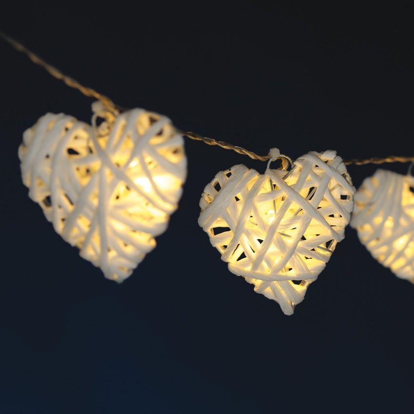 guirlande lumineuse coeur filant blanc chaud 10 led guirlande lumineuse eminza. Black Bedroom Furniture Sets. Home Design Ideas