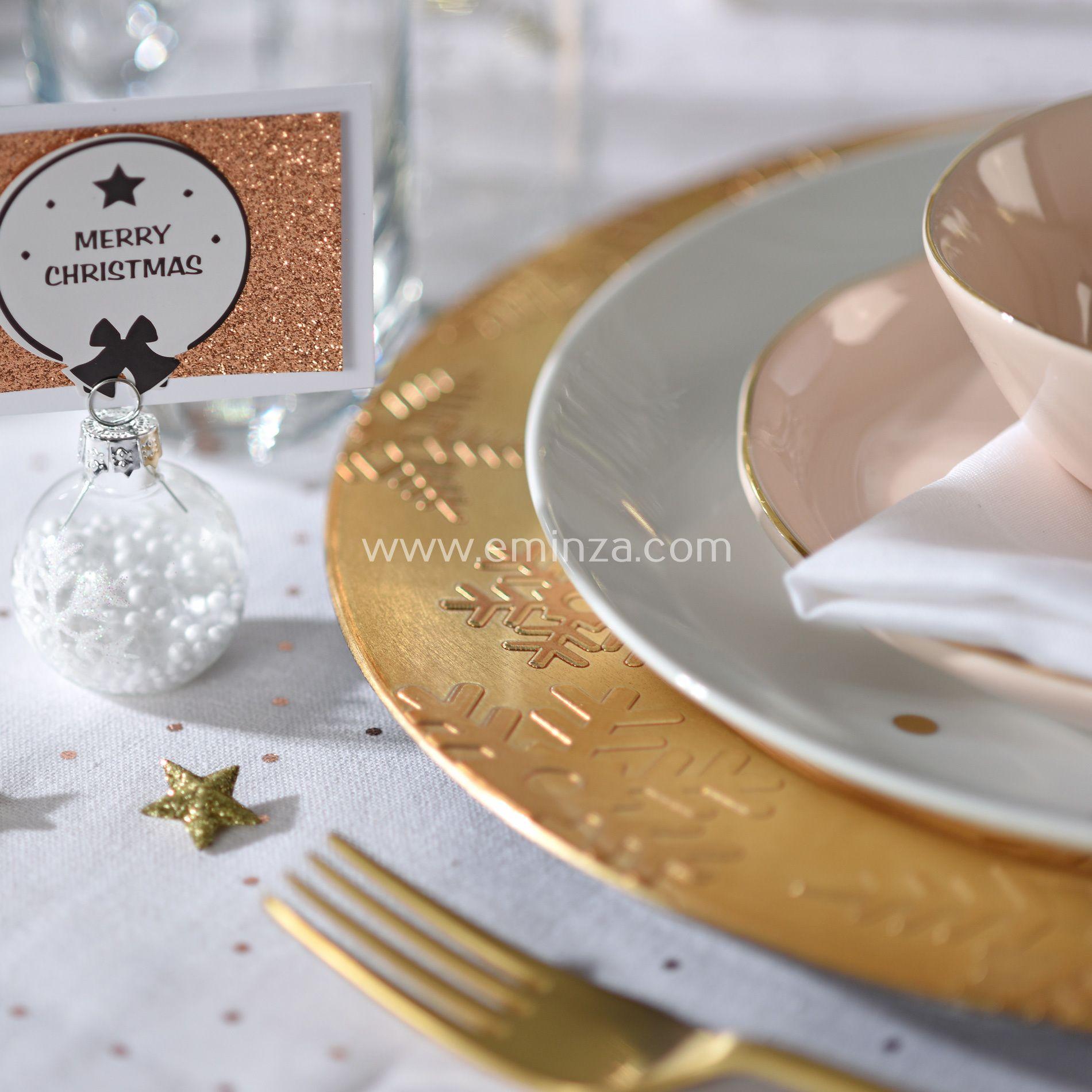 lot de 12 dessous d 39 assiette flocon or d coration pour la table eminza. Black Bedroom Furniture Sets. Home Design Ideas