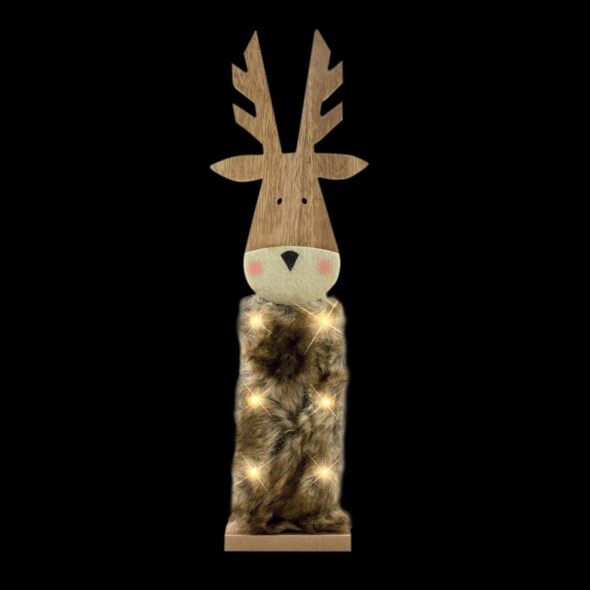 renne en bois lumineux blanc chaud 6 led silhouette. Black Bedroom Furniture Sets. Home Design Ideas