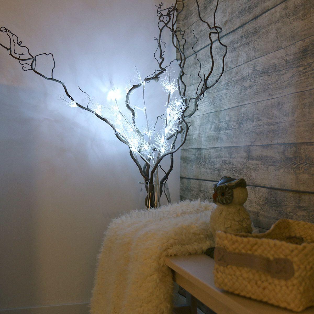 lot de 3 branches lumineuses zilao 30 led blanc froid fleur et branche d 39 hiver eminza. Black Bedroom Furniture Sets. Home Design Ideas