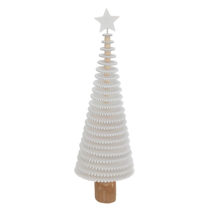 Sapin de table d coratif rondin h40 cm blanc sapin de for Gravillon decoratif blanc