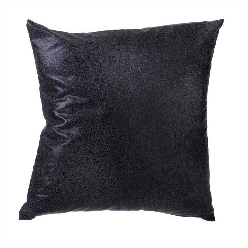 Coussin imitation cuir noir coussin et housse de coussin for Housse coussin cuir