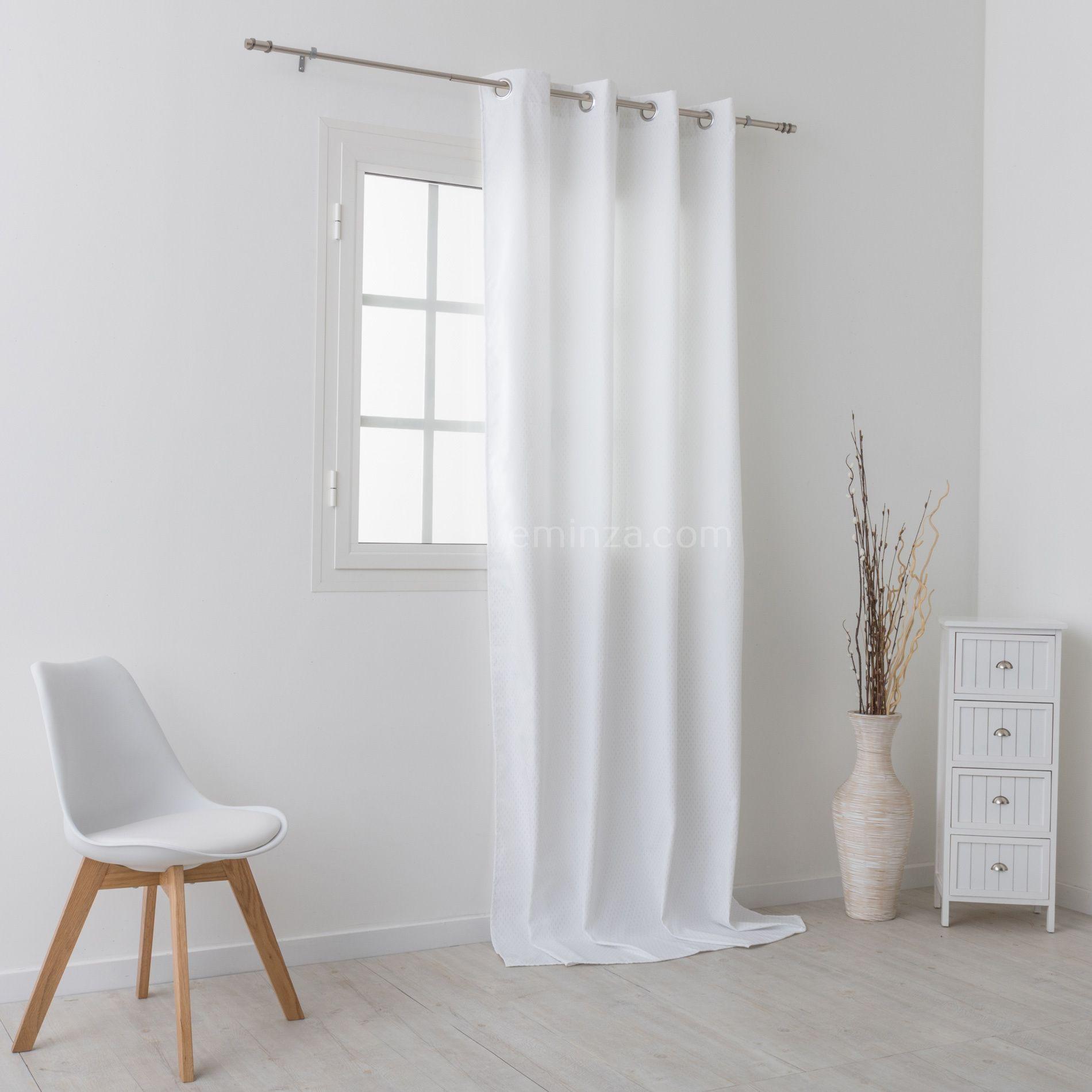 rideau obscurcissant isolant 140 x h260 cm daza blanc rideau isolant eminza. Black Bedroom Furniture Sets. Home Design Ideas