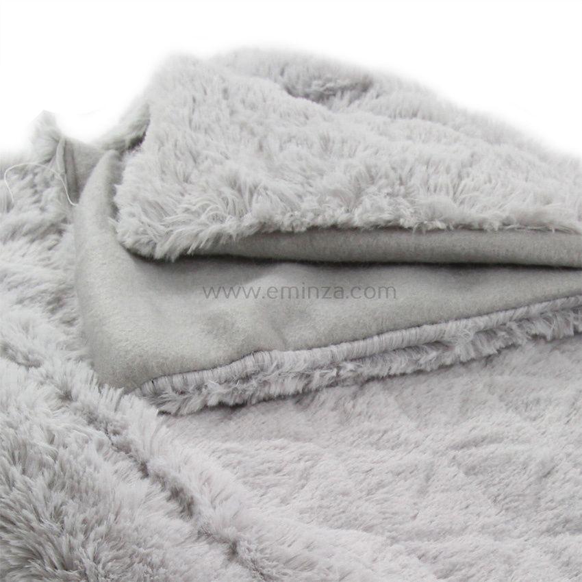 plaid fausse fourrure 230 cm casual gris plaid fausse. Black Bedroom Furniture Sets. Home Design Ideas