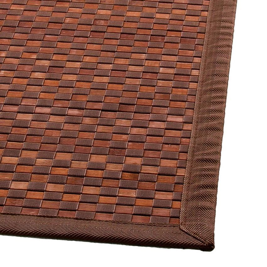 tapis bambou 170 cm damier chocolat tapis pour la maison eminza. Black Bedroom Furniture Sets. Home Design Ideas