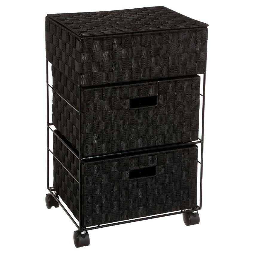 meuble sur roulettes 3 paniers noir meuble bas eminza. Black Bedroom Furniture Sets. Home Design Ideas
