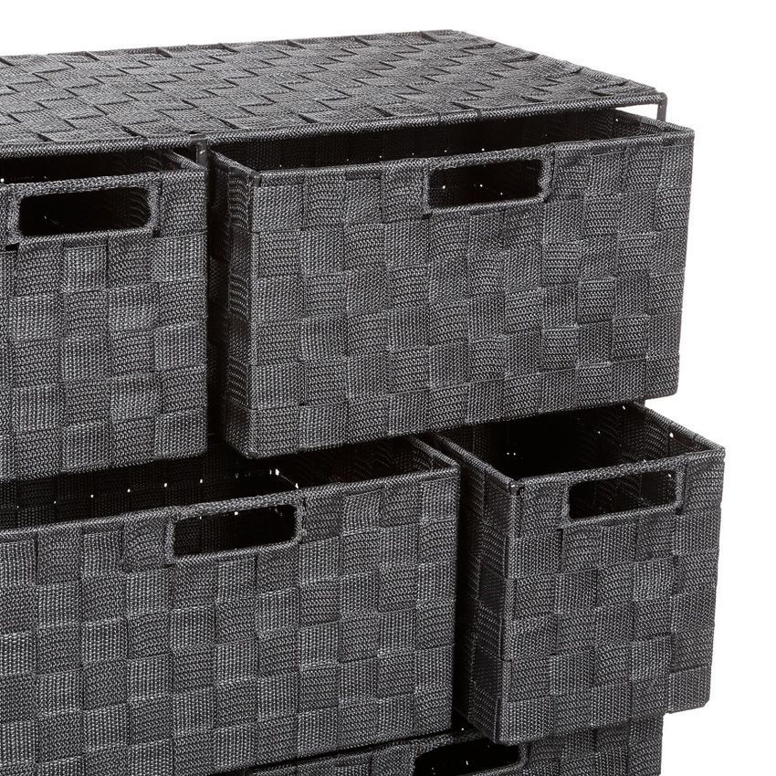 Meuble rangement 6 paniers anthracite meuble bas eminza - Meuble rangement panier ...