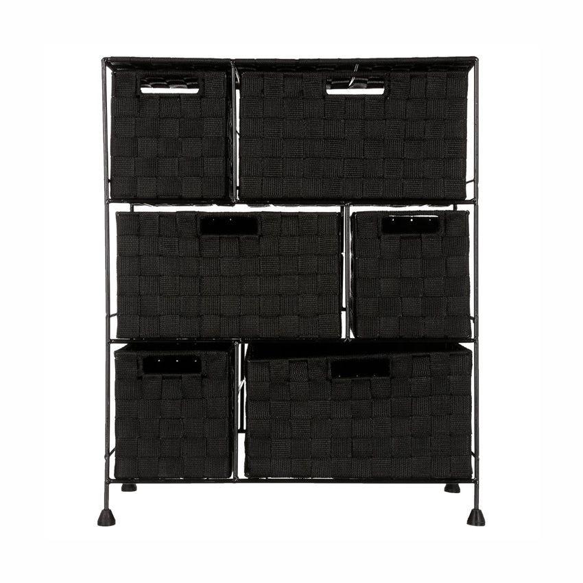 Meuble rangement 6 paniers noir meuble bas eminza - Meuble rangement noir ...