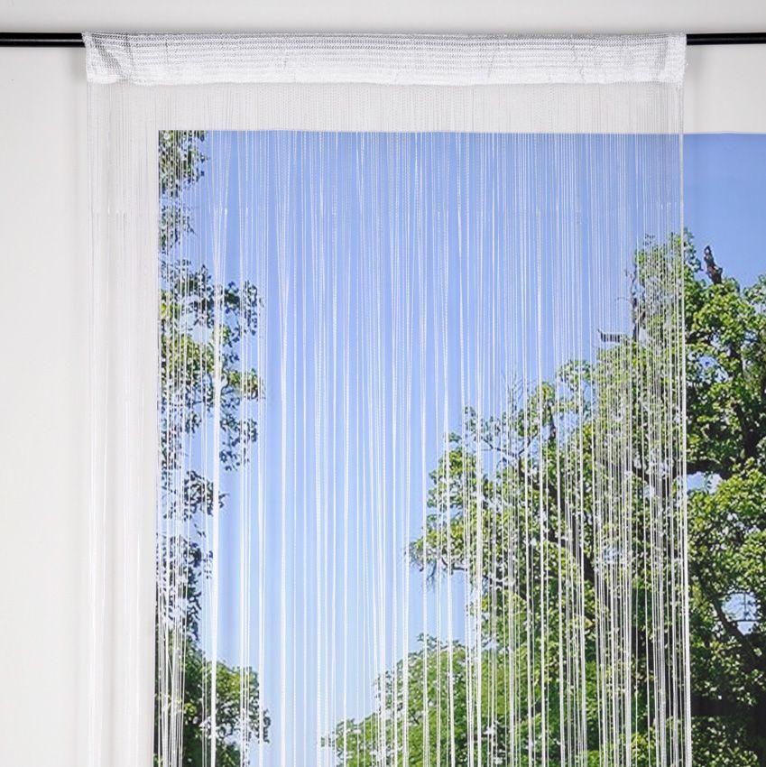 rideau de fil 90 x h200 cm mah blanc rideau et. Black Bedroom Furniture Sets. Home Design Ideas
