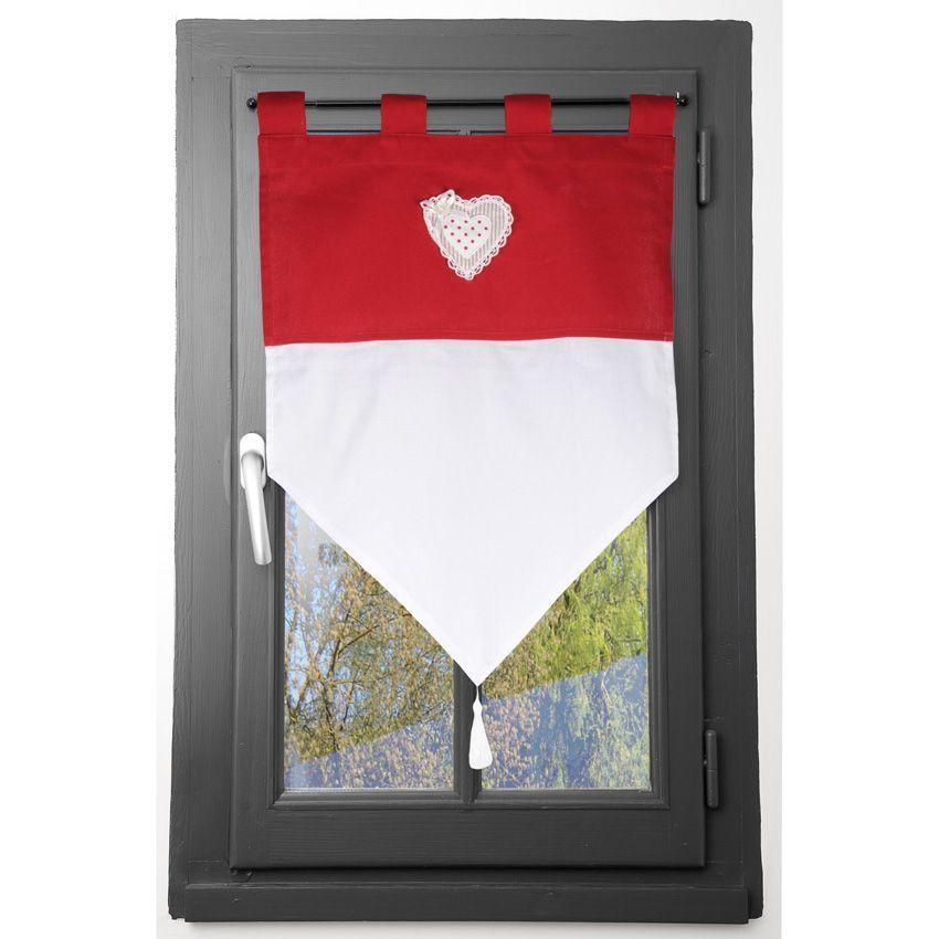 voilage vitrage 60 x h90 cm verone rouge voilage eminza. Black Bedroom Furniture Sets. Home Design Ideas