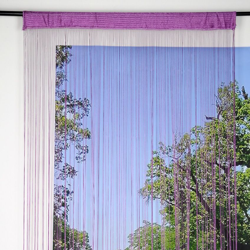 Rideau de fil 140 x h240 cm mah violet rideau et - Rideau de fil ...
