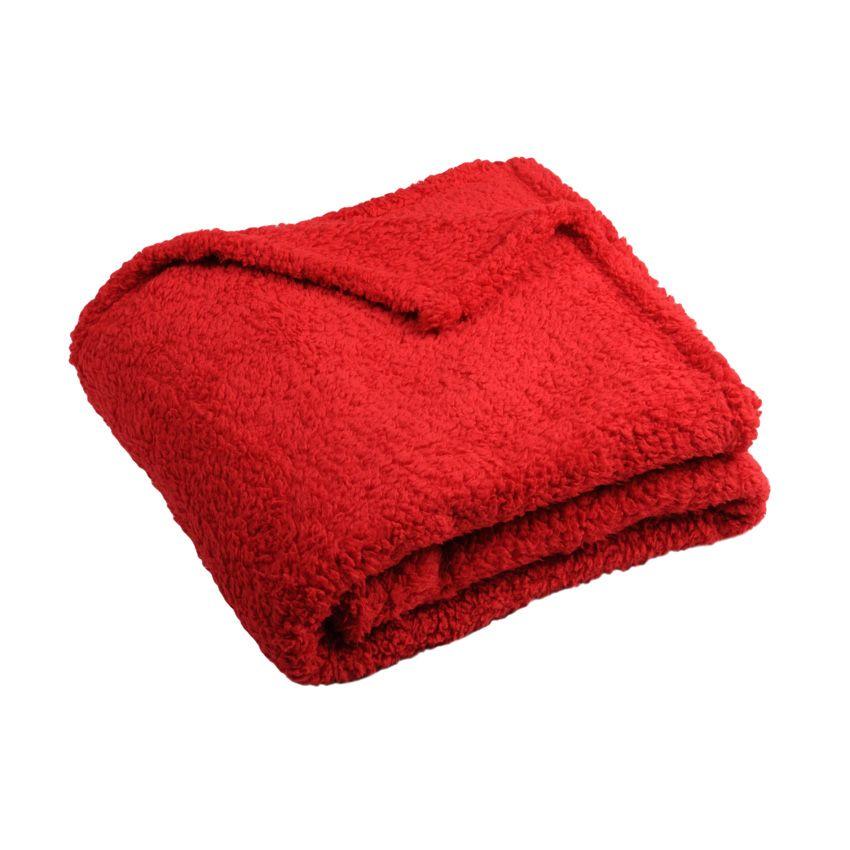 plaid doux 160 cm ninou rouge plaid cocooning eminza. Black Bedroom Furniture Sets. Home Design Ideas