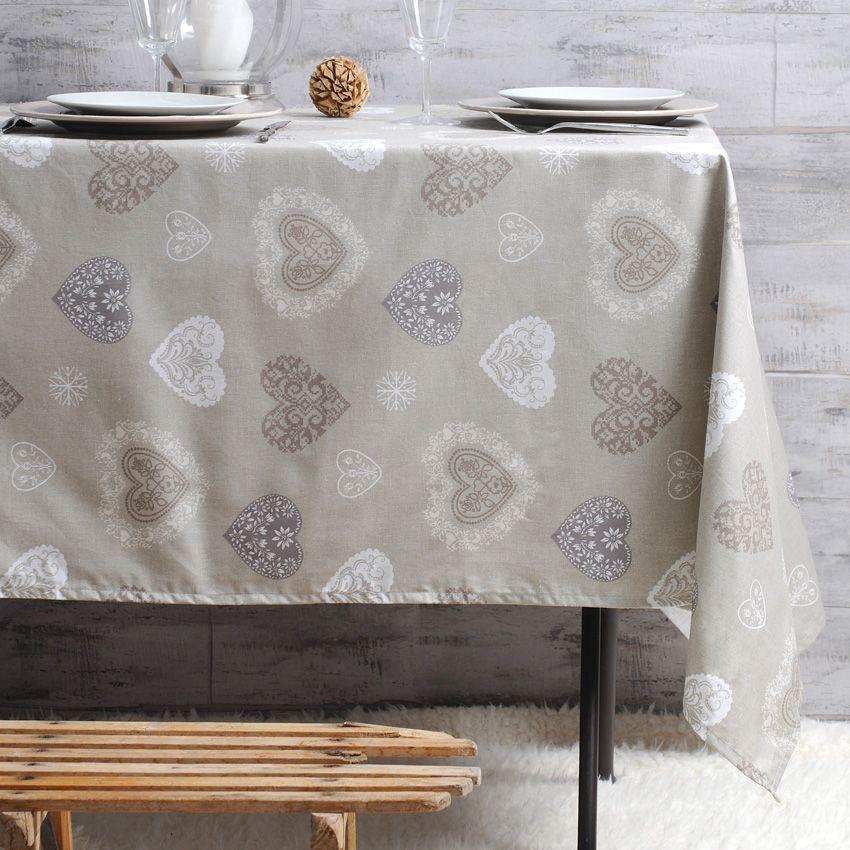 Nappe rectangulaire l250 cm amancy naturel nappe de for Nappe de table rectangulaire