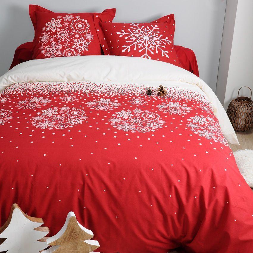 Housse de couette et deux taies 260 cm flocons rouge for Housse de couette rouge