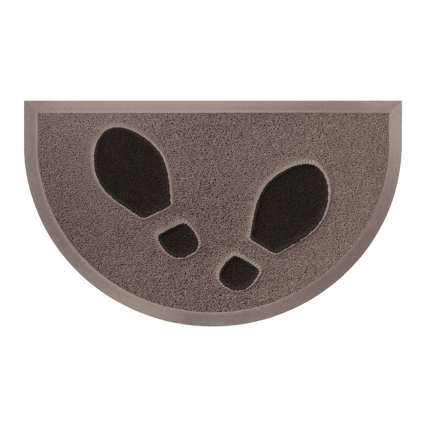 Tapis d 39 entr e demi lune empreintes taupe noir tapis d for Tapis de cuisine demi lune