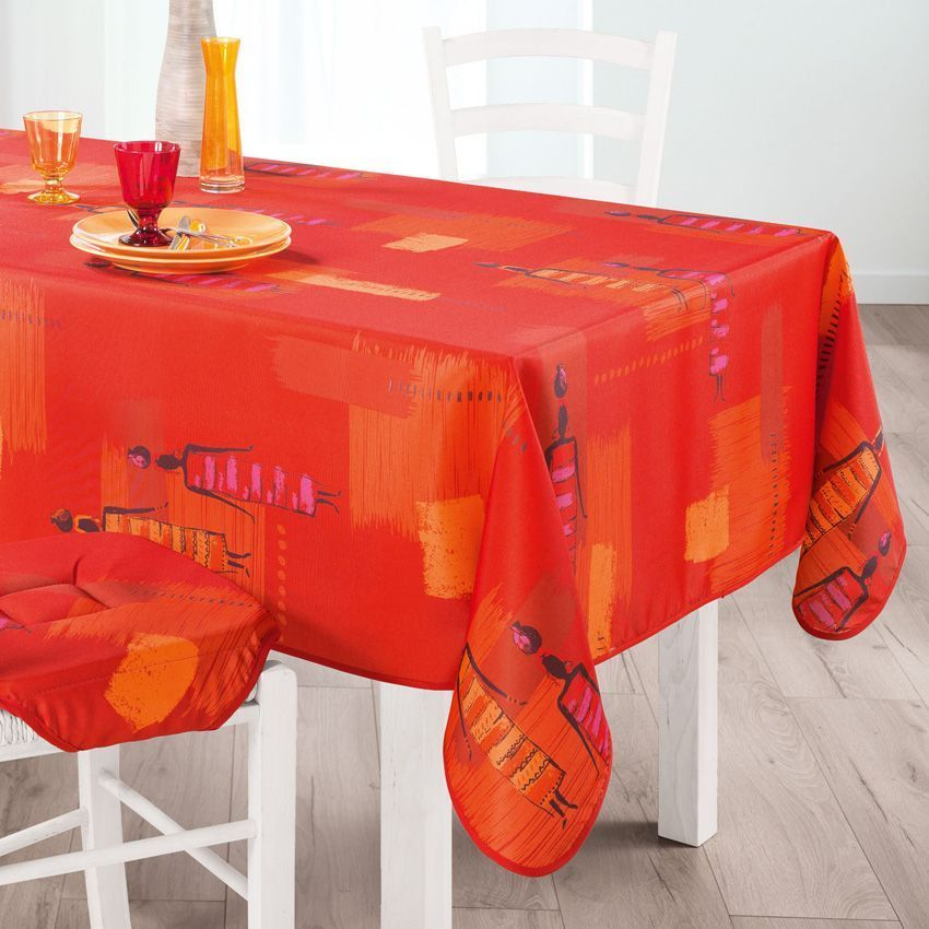 nappe rectangulaire l240 cm jaya orange nappe de table eminza. Black Bedroom Furniture Sets. Home Design Ideas