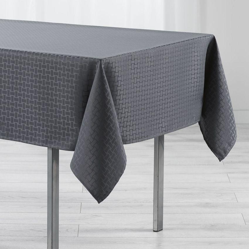 nappe rectangulaire l250 cm jacquard maillon anthracite nappe de table eminza. Black Bedroom Furniture Sets. Home Design Ideas