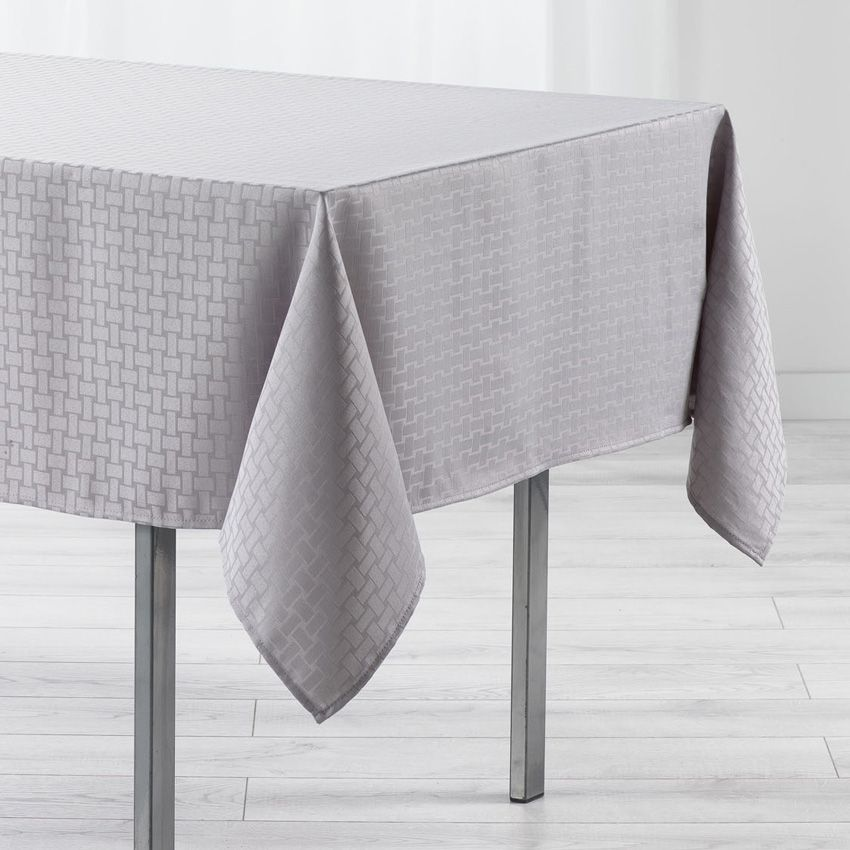 Nappe rectangulaire l250 cm jacquard maillon gris - Nappe table rectangulaire ...