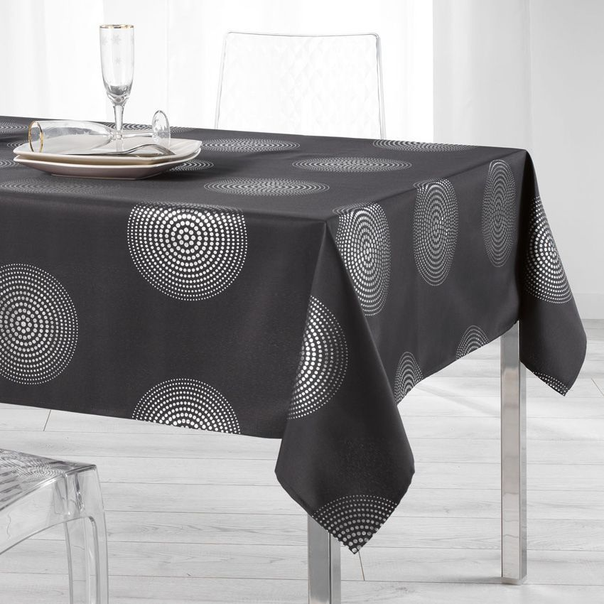 nappe rectangulaire l240 cm atome gris nappe de table eminza. Black Bedroom Furniture Sets. Home Design Ideas