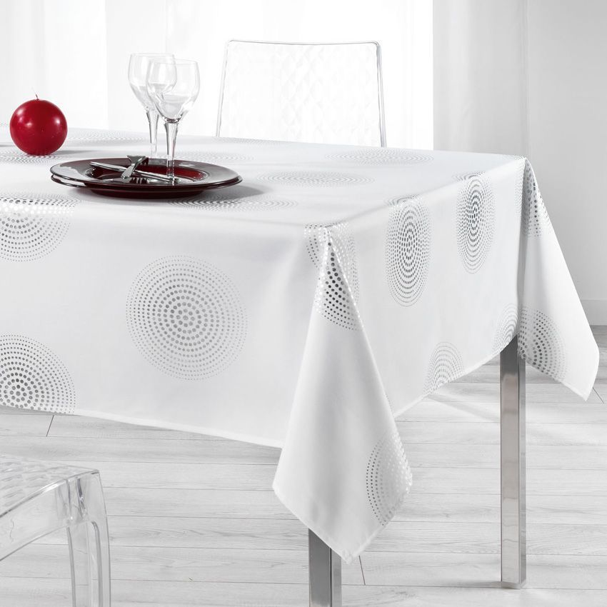 nappe rectangulaire l300 cm atome blanc nappe de table eminza. Black Bedroom Furniture Sets. Home Design Ideas