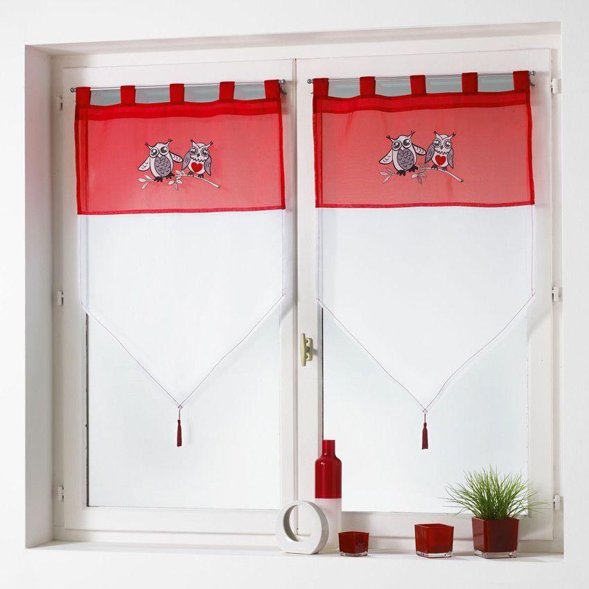 Paire de voilage 60 x h90 cm brod chouettia rouge for Voilage cuisine 60 x 90
