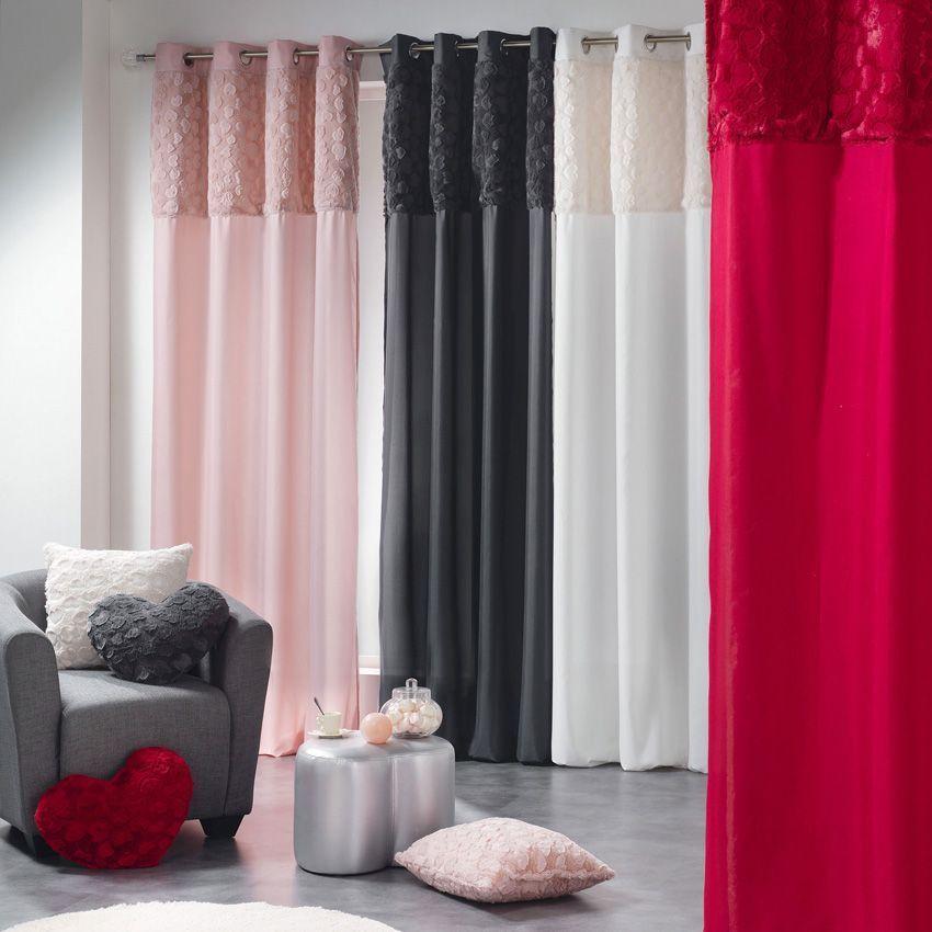rideau tamisant 140 x h260 cm imitation fourrure c ur rose rideau tamisant eminza. Black Bedroom Furniture Sets. Home Design Ideas