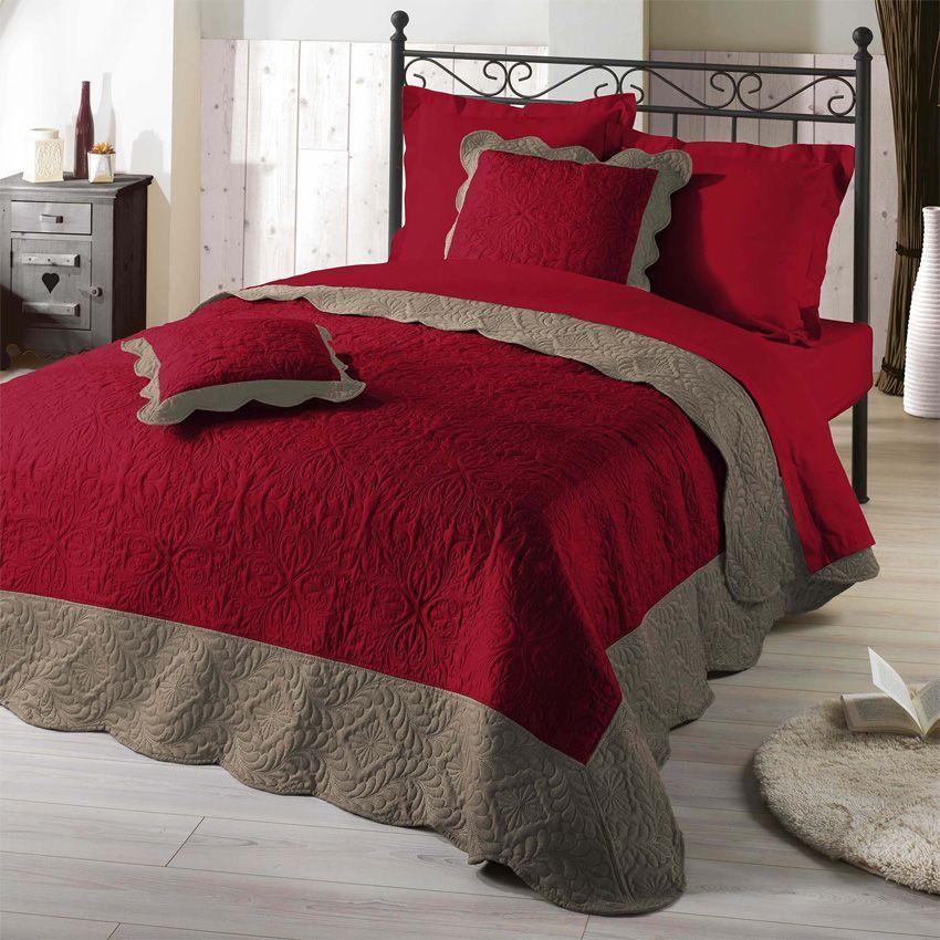 couvre lit 220 x 240 cm matelass emma rouge couvre lit boutis eminza. Black Bedroom Furniture Sets. Home Design Ideas