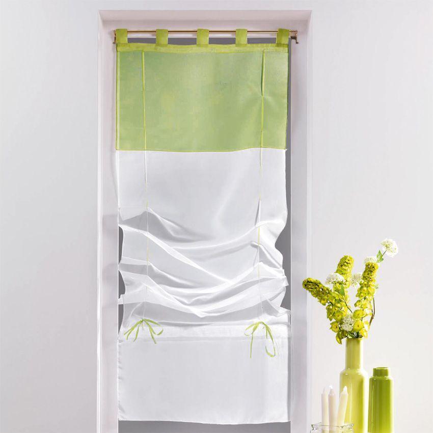store voilage droit 45 cm bicolore tilleul store int rieur eminza. Black Bedroom Furniture Sets. Home Design Ideas