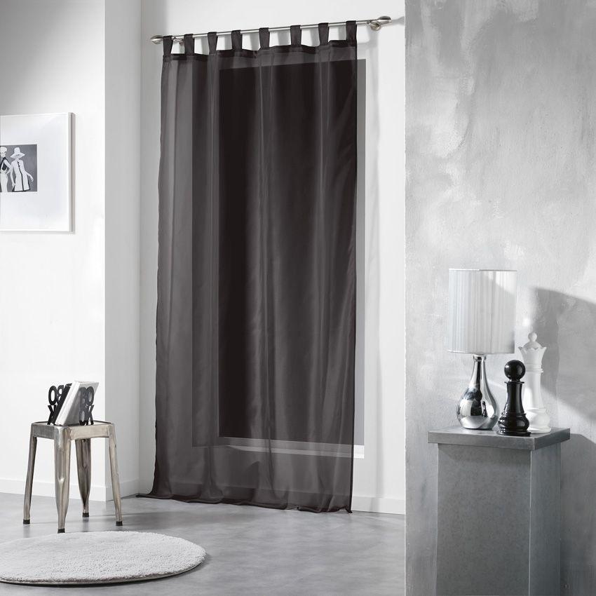 Voilage 140 x h240 cm pass voiline noir voilage eminza for Bar noir at maison 140