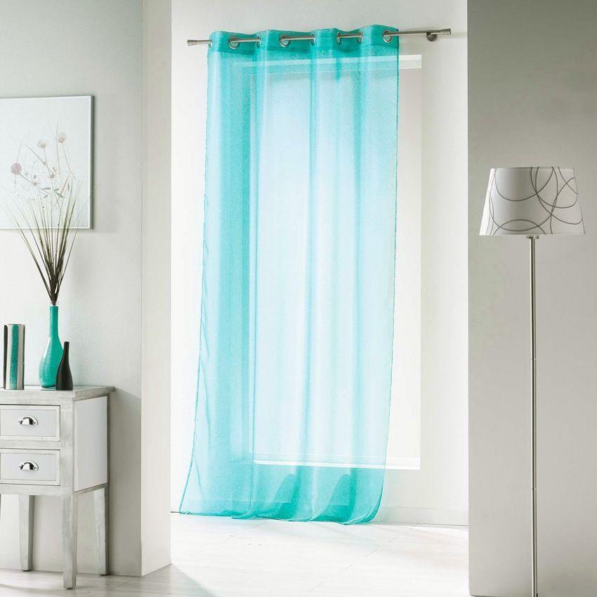 voilage 140 x h240 cm oeillets voiline bleu voilage eminza. Black Bedroom Furniture Sets. Home Design Ideas