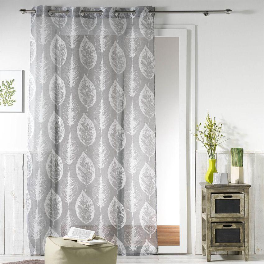 voilage 140 x h240 cm feuilla gris voilage eminza. Black Bedroom Furniture Sets. Home Design Ideas