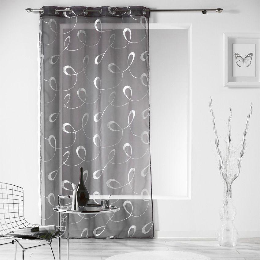 voilage 140 x h240 cm infinity gris anthracite voilage eminza. Black Bedroom Furniture Sets. Home Design Ideas