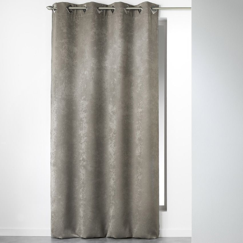 rideau 140 x h240 cm velours cabaret taupe rideau tamisant eminza. Black Bedroom Furniture Sets. Home Design Ideas