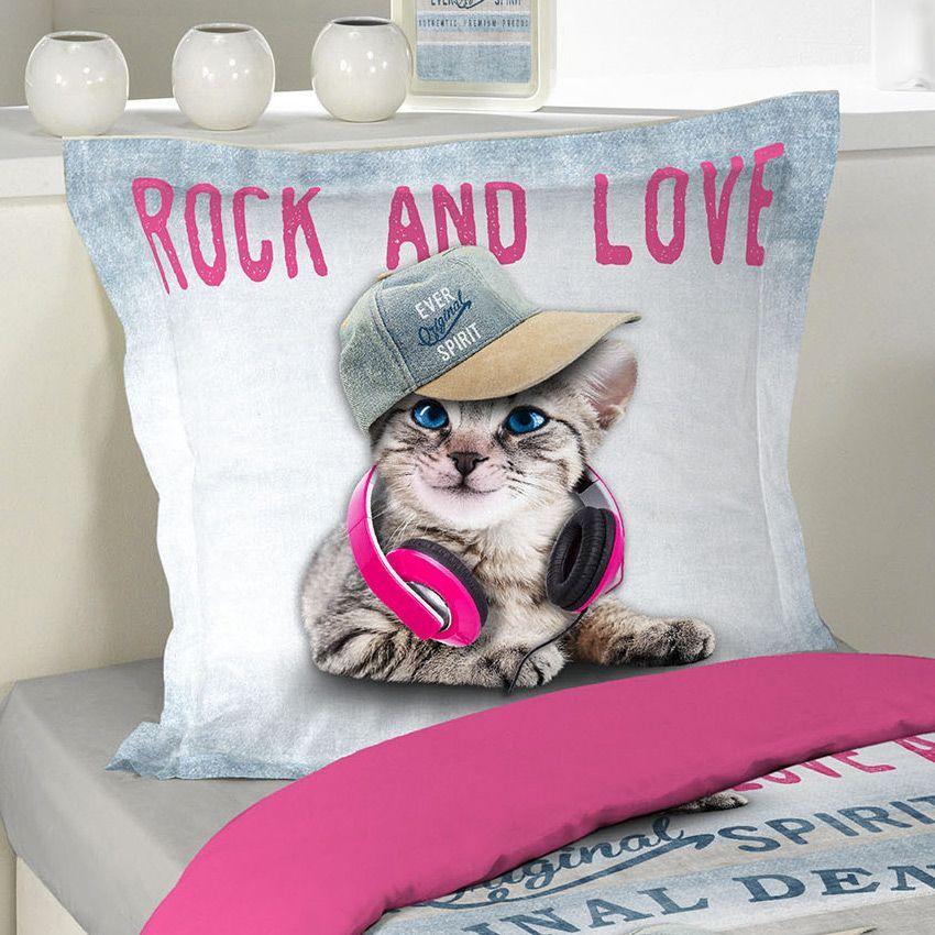 Housse de couette et une taie 140 cm girly cat housse for Une housse de couette