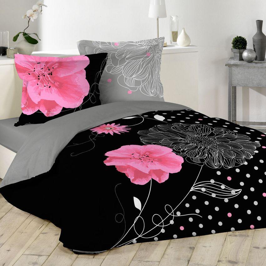 Housse de couette et deux taies 200 cm eclat noir housse de couette eminza for Housse de couette noir et rose