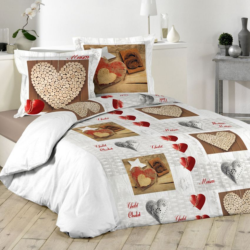 housse de couette et deux taies 240 cm chalet housse. Black Bedroom Furniture Sets. Home Design Ideas