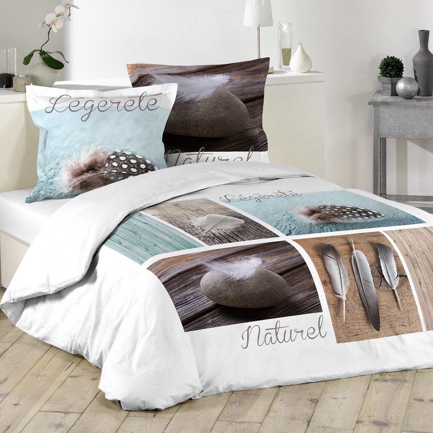 housse de couette et deux taies 240 cm plume l g re bleu housse de couette eminza. Black Bedroom Furniture Sets. Home Design Ideas