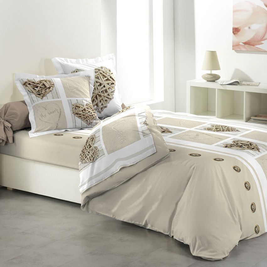 parure de draps 4 pi ces white love parure de draps eminza. Black Bedroom Furniture Sets. Home Design Ideas